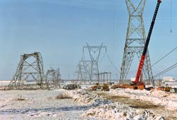 hydro towers collapsed under the weight of freezing rain during the ice storm.