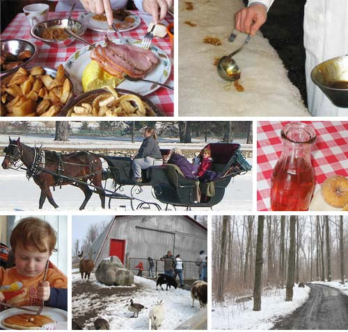 a montage depicting the different activities at a sugar shack