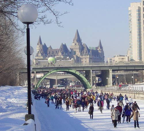 the forzen rideau canal is transformed into the world's longest ice skating rink
